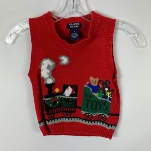 Class Club Sz 3 Red Christmas Sweater Vest Holiday